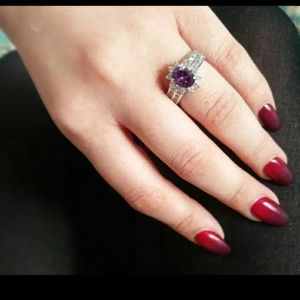 Purple Oval Silver Ring